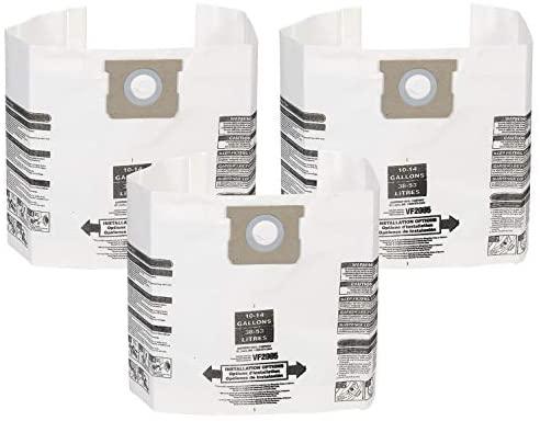 WORKSHOP Wet/Dry Vacs Sacos para aspirador de pó seco molhado VF2005 para a maioria dos aspiradores de pó da marca Shop-Vac (3 sacos coletores de poeira), branco