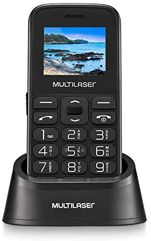 """Celular Multilaser Vita com Base Dual Chip 2G Bluetooth Tela 1.8"""" Câmera Botão SOS Memória Expansível Preto - P9121"""