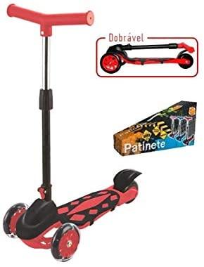 Patinete Radical Power Vermelho, DM Toys, Dobrável