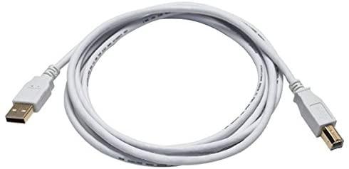 Monoprice 108616 cabo USB 2.0 A macho para B macho 28/24AWG - (banhado a ouro) - branco para cabo de impressora scanner 15M para PC, Mac, HP, Canon, Lexmark, Epson, Dell, Xerox, Samsung e mais!