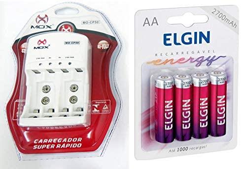 Carregador MOX com 4 pilhas recarregáveis Elgin AA 2700