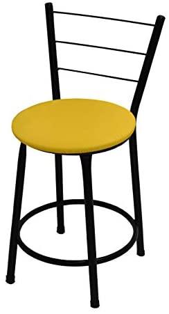 Banqueta Baixa Itália Preta C/Assento Amarelo Ideal P/Bar Restaurante Cozinha
