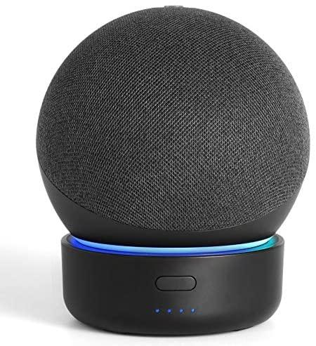 Base de bateria para Alexa Echo Dot 4ª geração, GGMM D4 Base de bateria para Dot 4, carregador de bateria portátil com alto-falante inteligente, acessórios totalmente novos de ponto, preto (não inclui o ponto 4)