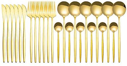 RUIMING Conjunto de talheres de espelho de ouro de 24 peças, conjunto de louça de aço inoxidável, dourado talheres máquina de lavar louça segurança , garfo café colher de queijo, servidores de salada conjunto de talheres de ouro